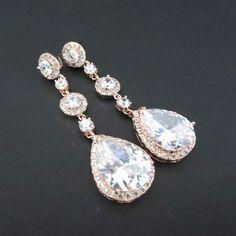 Rose Gold Bridal earrings Wedding Earrings by TheExquisiteBride, $60.00