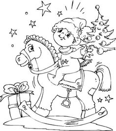 Boy On Rocking Horse Christmas Coloring Page