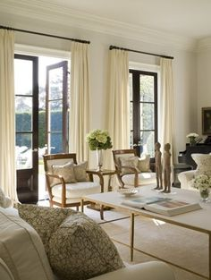 Pat: {Stroke of Luxe} beautiful living room! Let's keep the French doors, add linen curtains for extra privacy.