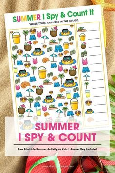 Your kids will have a blast with this fun free printable Summer I Spy Activity for kids. It's the perfect game for in the car, at the beach or at home! games for kids Summer Crafts For Toddlers, Summer Preschool Activities, Summer Kids, Sensory Activities, Christmas Activities, Beach Activities, Preschool Ideas, Physical Activities, Outdoor Activities