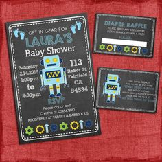 Printable Robot Baby Shower Invitation Set: Invite + Diaper Raffle Ticket + Book Request - Baby Boy shower - Chalkboard Style - I design you print