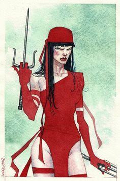 Elektra watercolor pic by *rogercruz on deviantART