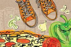 Flying Pie Co. Illustrations   Worx Graphic Design Inc.   Flying Pie Pizza Portfolio #worxgd #worxgraphicdesign #branding #hand #drawn #illustrations #watercolor