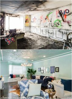Royal Design Studio Stencils on FOX's Home Free with Mike Holmes - Elegant Mint Painted and Stenciled Ceiling with Antoinette Damask Stencils