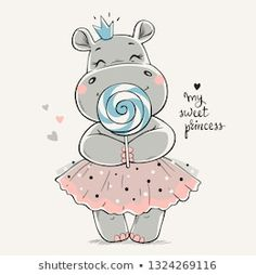 Hand drawn vector illustration of a cute hippo princess in a pink dress and with a big lollipop in her hands. Hand drawn vector illustration of a cute hippo princess in a pink dress and with a big lollipop in her hands. Cute Hippo, Baby Hippo, Baby Animals, Cute Animals, Illustration Mignonne, Cute Illustration, Art Illustrations, Baby Animal Drawings, Cute Drawings