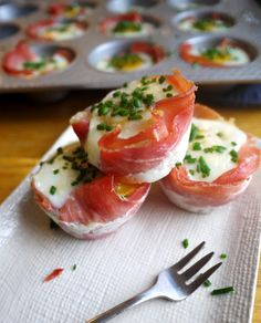 Chive and Fontina Eggs in Prosciutto Nests - gluten-free treat for Christmas morning!