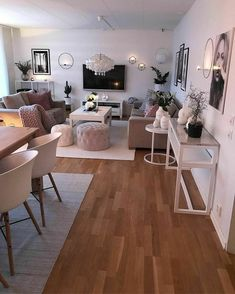 Novel Small Living Room Design and Decor Ideas that Aren't Cramped - Di Home Design Small Apartment Living, Home Living Room, Living Room Designs, Living Room And Bedroom In One, Kitchen With Living Room, Blush And Grey Living Room, Small Living Dining, Rectangular Living Rooms, Dining Room