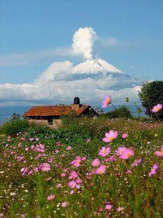 Summer house at the base of Popocatepetl Volcano, Mexico (by Jeronimo).