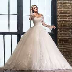 Find More Wedding Dresses Information about Delicate Ball Gown Applique Lace Long Sleeve Wedding Dresses 2017 Fashion Long Bridal Gowns Custom Made vestido de noiva LW126,High Quality dress bridemaid,China dress clip Suppliers, Cheap dress flower from Shop1097158 Store on Aliexpress.com