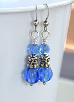 Sterling Silver and Blue Fluted Vintage Japanese Beaded Earrings.   Blue Vintage Glass Beaded Earrings with Sterling Silver.