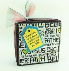 AG Designs Block Sitter - Sunday School Christian  Teacher Thank You 7-15/10 by AgapeGiftsOnline on Etsy