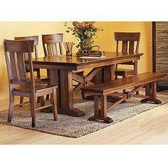 Lugano Dining Table | Dining Room Tables | World Market are dining room tables with benches becoming the norm?  I need a formal dining set and wondering if this is the way to go?