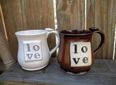 Love Mug Love Typography Coffee Cup Ceramic by MarieKennedyPottery