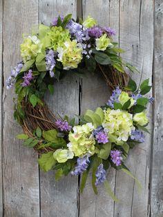 Spring wreath summer wreath front door wreath designer wreath hydrangea wreath home decorations Easter Wreaths, Holiday Wreaths, Yarn Wreaths, Mesh Wreaths, Spring Front Door Wreaths, Spring Wreaths, Hydrangea Wreath, Green Hydrangea, Deco Floral
