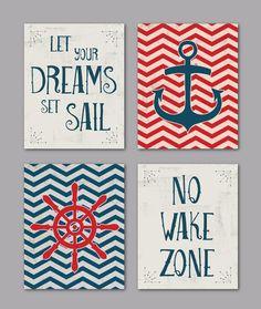 Set of 4 Chevron Nautical Vintage Prints/ Nautical Nursery or Playroom/ Anchor/ Wheel/ No Wake Zone/ Let Your Dreams Set Sail - 8x10s