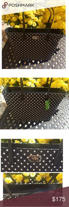 KATE SPADE *NWT* black with white polka dots tote Classic Kate Spade bag! Black bag with white polka dots, black handles and a black bottom. Gold hardware and detailing. Logo on front of bag. 3 interior compartments . Black silk fabric on inside along with logo  . Bag is nylon fabric . Name of bag : Blake avenue Margareta : diamond dot. Dimensions are 11H X 18.5 W and the strap go up 7 1/2 in from the bag kate spade Bags Totes
