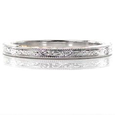 Classic hand engraved thin wedding band with beaded milgrain edge. Stunning! Design 2589 from #Knoxjewelers