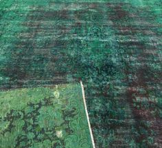 Distressed Emerald Green Overdyed Persian Carpet 9x12 by RugzyRugs