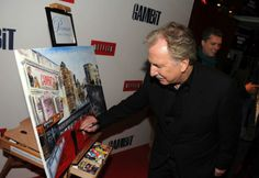 alan rickman signs charity painting gambit_premiere
