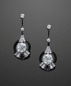 Fred Leighton 1920's Diamond and Onyx Earrings
