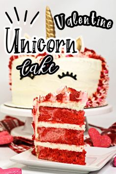 Valentine Unicorn Cake is the perfect homemade Valentine's Day treat. It is layered with pink and red vanilla cake and topped with homemade vanilla frosting. #valentine #valentineunicorncake #unicorncake #valentinecake