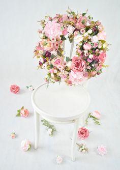 Wreath for the door, Luxury Summer wreath, Spring wreath, Elegant wreath, Pink peonye, rose, hydgea wreath,  Luxury Wreath,  Floral  wreath