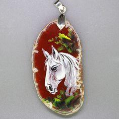 FREE SHIPPING HAND PAINTED HORSE GEMSTONE NECKLACE PENDANT BEAD  ZZ30 00239 #ZL #PENDANT