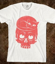 funny t shirt, funny t shirt design, cat and skull