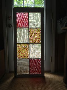"""Finished my """"stained glass"""" project using an old window, glass 1/2 marbles & E6000 adhesive. Now to decide where to hang!"""
