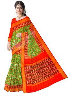 ikat narikunj green color saree (2)