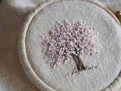 Mini Kit: Spring Tree — The Stitchery French Knot Embroidery, Hand Embroidery Flowers, Hand Work Embroidery, Cute Embroidery, Hand Embroidery Designs, Embroidery Applique, Cross Stitch Embroidery, Embroidery Patterns, French Knot Stitch