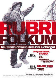 Rubrifolkum 2016, 6è Festival de música folk a Sant Boi de Llobregat. 11 i 12 de març
