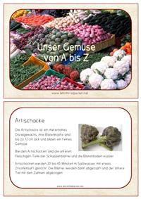 Gemüse: Informationen, Arbeitsblätter, Spiele, Karteikarten und Rechenaufgaben zum Thema.