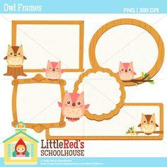 Clip Art: Owl Frames - Animal theme clipart $4.50