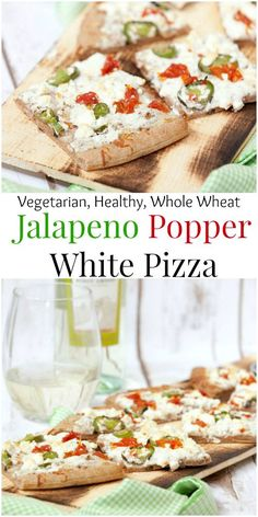 An easy pizza for an appetizer - Jalapeno Popper White Pizza - Low Calorie, Low Fat, Healthy Recipe #SundaySupper #ad #GalloFamily