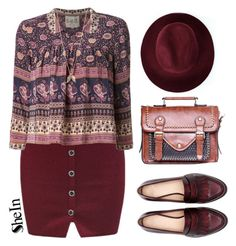 """Burgundy vintage"" by mihreta-m ❤ liked on Polyvore featuring Redopin, Sea, New York, Minor Obsessions, Zara and vintage"