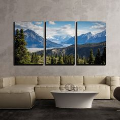 - 3 Piece Canvas Wall Art - Mountains Panorama Snowy Peaks and The Green Hills - Modern Home Decor Stretched and Framed Ready to Hang - Panels 3 Piece Canvas Art, 3 Piece Wall Art, Canvas Wall Art, 3 Piece Painting, Canvas Prints, Art Prints, Mountain Decor, Mountain Modern, Wall Art Pictures