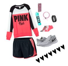 """Outfit"" by sophiect ❤ liked on Polyvore featuring Victoria's Secret, Under Armour, NIKE, Fitbit, women's clothing, women, female, woman, misses and juniors"
