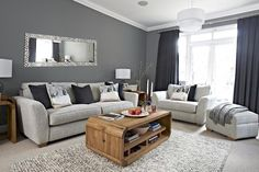 Grey living room, Farrow and Ball Plummet walls, Chevron Grey and White wall mirror, popcorn rug, Blush and Copper accessories by Interior Therapy