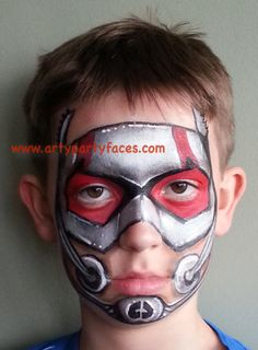 Ant Man Super Hero - Face painting, inspired by Captain America film, Civil War, designed by Jeannie of www.artypartyfaces.com - Awesome!