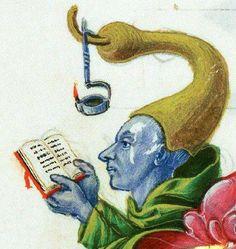 Une lampe de lecture médiévale. Oui, oui, cela existait alors...