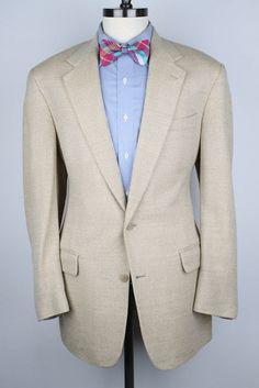 Brooks Brothers Tan Beige Herringbone Light Tweed Wool 42 R mens Sport Coat  #BrooksBrothers #TwoButton