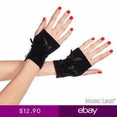 c3016793f Music Legs Fingerless gloves with satin lace details 485 Black