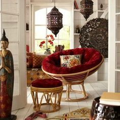 Papasan Chair With Red Cushion And Ottoman And Floral Cushion