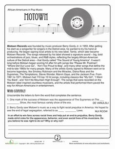 Fourth Grade Comprehension Music Worksheets: History of Motown