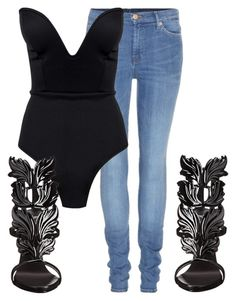 """Untitled #128"" by samstyles001 on Polyvore featuring 7 For All Mankind, Boohoo and Giuseppe Zanotti"