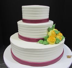 Buttercream iced with horizontal lines and bands and yells roses Traditional Wedding Cakes, Bands, Roses, Wedding Ideas, Desserts, Food, Tailgate Desserts, Deserts, Pink
