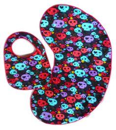 Baby Skulls Bib and Burp Cloth Gift Set by MommysLittleRockStar, $12.00
