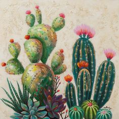 Cactus Variation Acrylic Painting Print on Canvas East Urban Home art garden indoor plants Cactus Painting, Cactus Art, Painting Prints, Canvas Prints, Cactus Plants, Green Cactus, Gouache Painting, Succulents Painting, Acrylic Painting Flowers
