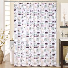 Fantasy 13 Piece Printed Peva Shower Curtain Set